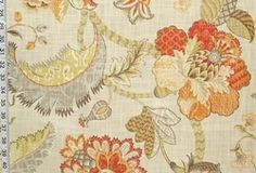 Contemporary or Novelty:  Indienne fabric Jacobean floral orange Renaissance fabric from Brick House Fabric: Novelty Fabric
