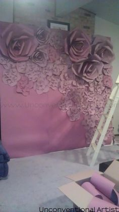 Making a chicago designer set prop artistic director valentines day photo shoot photoshoot idea concept love romance romantic paper flower background editorial idea set design