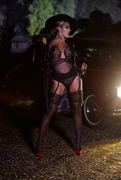 Beyonce wearing the Jean Paul Gaultier for La Perla Tulle & Braid Bodysuit and La Perla stockings in 'Partition' music video Beyonce Knowles Carter, Beyonce And Jay Z, Beyonce Music, Divas, Bae, Mrs Carter, Queen B, Poses, In Pantyhose