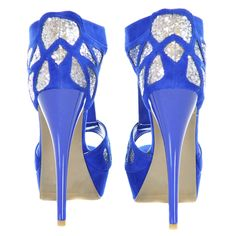 Blue and Silver Glitter Two Tone Suede Peep Toe Heels | Sexyback Boutique