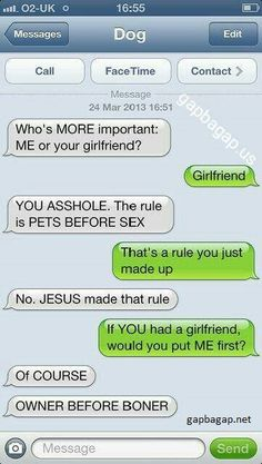 Funny Text About Dog vs. Girlfriend