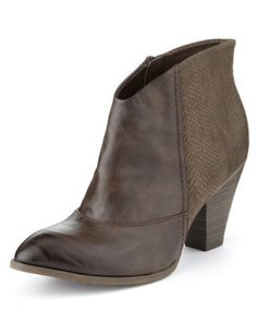 M&S Limited Edition Side Zip Western Boots with Insolia® I highly rate the quality of M&S footwear. These deep brown ankle boots are beautiful & a total bargain. Brown Ankle Boots, Shoe Boots, Shoes, Western Boots, Footwear, Wedges, Booty, Stuff To Buy, Deep Brown