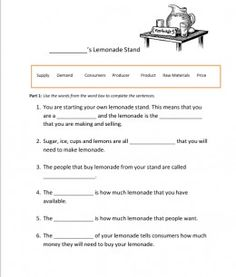Lemonade Economics....my first attempt at publishing my own lesson ideas! :-p