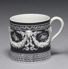 Cup, c. 1790 designed and made by Wedgwood Factory (British) jasper ware with relief decoration, Diameter - w:13.55 cm