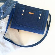 Small Size Dark Blue, Handmade Felt clutch bag, Elegant Messenger felt bag, Removable Shoulder Strap, Crossbody and Wrist strap Bag, Gift