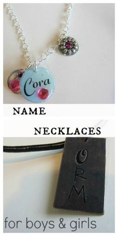 Learn how to make homemade name necklaces for both girls and boys! This makes a great craft for kids of all ages!  #crafts #weteach #kidscrafts #namenecklaces #homemadenecklaces #kidsdiy #diynecklace #teachmama