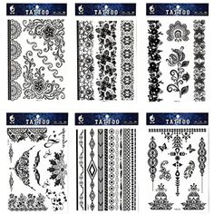 GGSELL GGSELL tattoo 6pcs Black lace temporary tattoos in one packages,including black jewelry lace,black totem lace,black flower totem,indian trial jewelry tattoos * Click image for more details. (This is an affiliate link) #Makeup