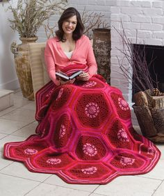 Ruby Hexagon Throw Free Crochet Pattern from Red Heart Yarns