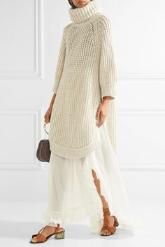 Cream open-knit  Slips on 45% acetate, 40% alpaca, 15% wool Dry clean Designer color: Seed Pearl Beige Made in Italy