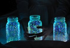 Glow in the dark spray paint + Mason jars