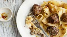 Pappardelle with veal meatballs. Photo: Laura Edwards