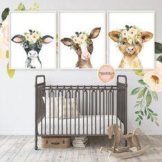Cow Nursery, Farm Animal Nursery, Baby Farm Animals, Baby Nursery Decor, Nursery Room, Nursery Ideas, Floral Nursery, Cowgirl Nursery, Baby Girl Nursey