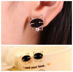 Golden Stud Earring Design with Black and Small White Stones