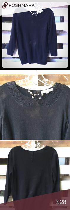 LOFT black sweater with lace on front LOFT black sweater with lace on front & 3 buttons up back. Worn once. LOFT Sweaters Crew & Scoop Necks