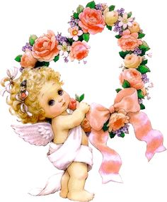 Cute Little Angel with Flowers PNG Clipart