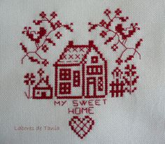 Travailler Tania: Avril 2011 (Marie-Anne Rethoret-Melin ''Sweet home'' Mango) Xmas Cross Stitch, Cross Stitch Embroidery, Cross Stitch Patterns, Cross Stitch Pictures, Blackwork, Needlepoint, Monochrome, Needlework, Sewing Projects