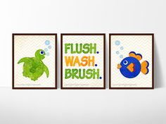 Gentle reminders + cheery nautical creatures = perfect kid bathroom art! This set is especially fantastic for a shared sibling bathroom.