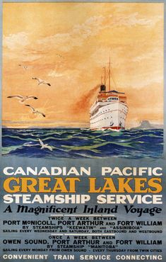 Canadian Pacific Great Lakes Steamship Inland - Mad Men Art: The 1891-1970 Vintage Advertisement Art Collection