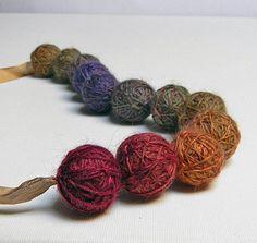 yarn ball beads. use thin yarn for this.