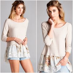 """Lace layered top Taupe, thermal top with floral chiffon and lace layered hem, 3/4 sleeves, item meant to fit loosely. Available in S, M, L. Self : 95% rayon, 5% spandex. Made in USA.   Available in S, M, L Measurements laying flat Small: bust-18"""", length- 24"""" Medium: bust- 19 1/2""""- length- 26"""" Large : bust-21"""",  length- 28 1/2 No trades. Price is firm unless bundled. Tops"""