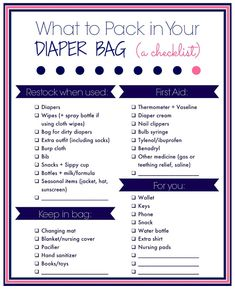 Laura's Plans: What to pack in you diaper bag: A free printable checklist Diaper Bag Checklist, Diaper Bag Essentials, Nail Bags, Boy Diaper Bags, Diaper Bag List, Birth Announcement Template, Nursing Tips, Baby Hacks, Baby Tips