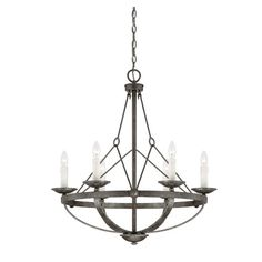 Cast a warm glow in your entryway or den with this lovely chandelier, showcasing an openwork suspension design and 6 lights.   Prod...