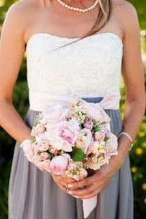 Grey and White bridesmaid dress and pink flower bouquet