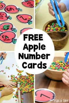 A FREE printable for apple number cards! This apple printable is perfect for exploring one-to-one correspondence and fine motor skills. Pair it with some DIY mini apples and let the playful learning begin! Early Learning Activities, Apple Activities, Autumn Activities For Kids, Number Activities, Preschool Lesson Plans, Fun Math, Toddler Preschool, Preschool Activities, Teacher Freebies