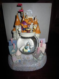 "Disney Beauty and the Beast ""Village"" Snowglobe NIB Rare"