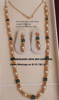 Find exclusive designs made in perfect finish. Presenting Pure Emeralds n Rubi beads chains with pearls. Visit for best designs at most competitive prices. Contact no 8125 782 02 January 2019 Beaded Jewelry Designs, Jewelry Design Earrings, Gold Earrings Designs, Gold Jewellery Design, Necklace Designs, Gold Designs, Beaded Jewellery, Gold Jewelry Simple, Making Ideas