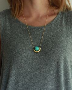 Turquoise Moon Necklace - JewelMint