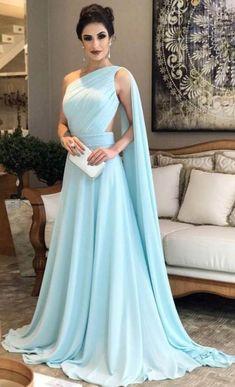 Light Blue Chiffon Prom Dress, One Shoulder Prom Dresses, Woman Formal Dresses, Evening Dresses for Woman, Mother of the Bride Dress, Wedding Guest Dresses