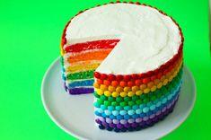 Rainbow Madness: Introducing The Double Rainbow Cake Recipe Rainbow Madness: Introducing The Double Rainbow Cake Recipe M&ms Cake, Cake Cookies, Cupcake Cakes, Beautiful Cakes, Amazing Cakes, Rainbow Food, Cake Rainbow, Rainbow Colors, Gateaux Cake