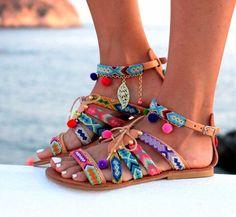 sandales sandales gladiateur en cuir bracelets par DimitrasWorkshop