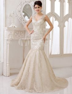 Sexy Champagne Lace V-neck Mermaid Wedding Gown - Milanoo.com