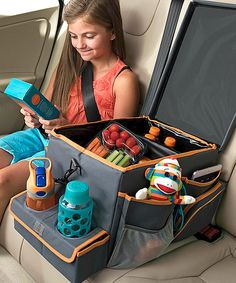 A variety of pockets offer sturdy homes for toys and games, and a leakproof inner storage area ensures simple access to drinks and snacks on long rides. See how it works 11.5'' W x 10.5'' H x 18.75'' D500 denier polyesterImported