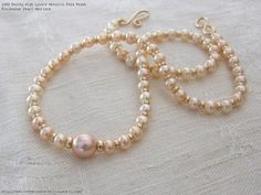 Dainty High Lustre Metallic Pale Peach Freshwater Pearl Necklace