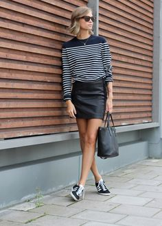 stripes & leather. Tine in Stockholm. #FashionEaters