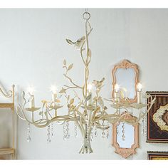 24 inch Bird Metal Distressed Chandelier with Antique Look from Touch of Europe -- whimsical for a guest bedroom...