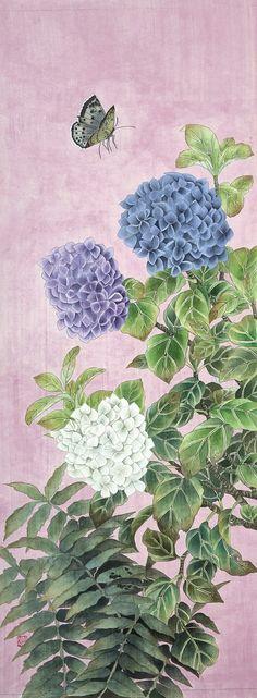 부산취미미술/부산공필화/우현공필채색화연구회/민화 Korean Art, Asian Art, Chinese Painting, Chinese Art, Butterfly Art, Flower Art, Art And Illustration, Chinese Flowers, Nature Drawing