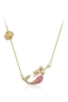 Love Love Love this Mermaid Necklace! So Pretty! Gold Gemstone Mermaid Chain Necklace