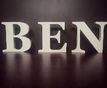 BEN freestanding letters hand painted white for a new baby nursery.