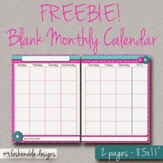 Fashionable Moms: FREE Printable 2-page Monthly Calendar - Spring Flowers
