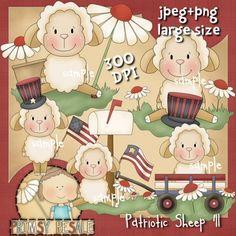 Patriotic Sheep 1 - Clip Art by Primsy Doodle
