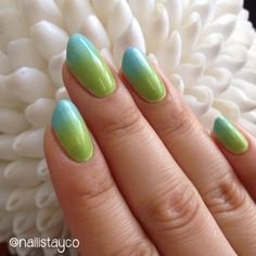 Green  blue gradient  | Check out http://www.nailsinspiration.com for more inspiration!