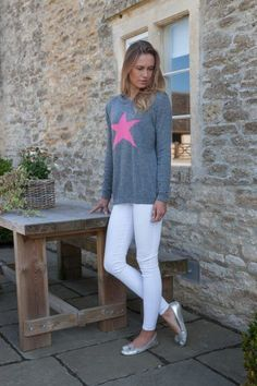 3d61790341 A gorgeous Italian cashmere mix grey jumper with a pink star motif on the  front from