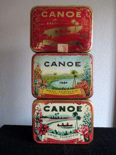 3 x Canoe tobacco tins