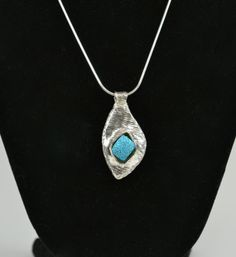Silver and Aqua Asymmetrical Teardrop Pendant of by LyonPondStudio