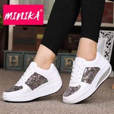 Sneakers have already been a part of the fashion world for longer than you may think. Modern day fashion sneakers bear little resemblance to their early predecessors but their popularity continues to be undiminished. Wedge Heel Sneakers, Sneakers Mode, Sneaker Heels, Platform Sneakers, Casual Sneakers, Wedge Heels, Sneakers Fashion, Casual Shoes, Sneakers Adidas