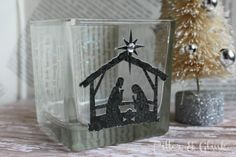 DIY {Nativity Silhouette Votive Holder}: Use battery powered Tea light. by PitterAndGlink Diy Nativity, Christmas Nativity, Christmas Candles, Christmas Tree Ornaments, Christmas Holidays, Christmas Decor, Christmas Ideas, Christmas Goodies, Christmas Inspiration